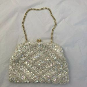 Ivory Sequined Evening Bridal Formal Clutch Purse